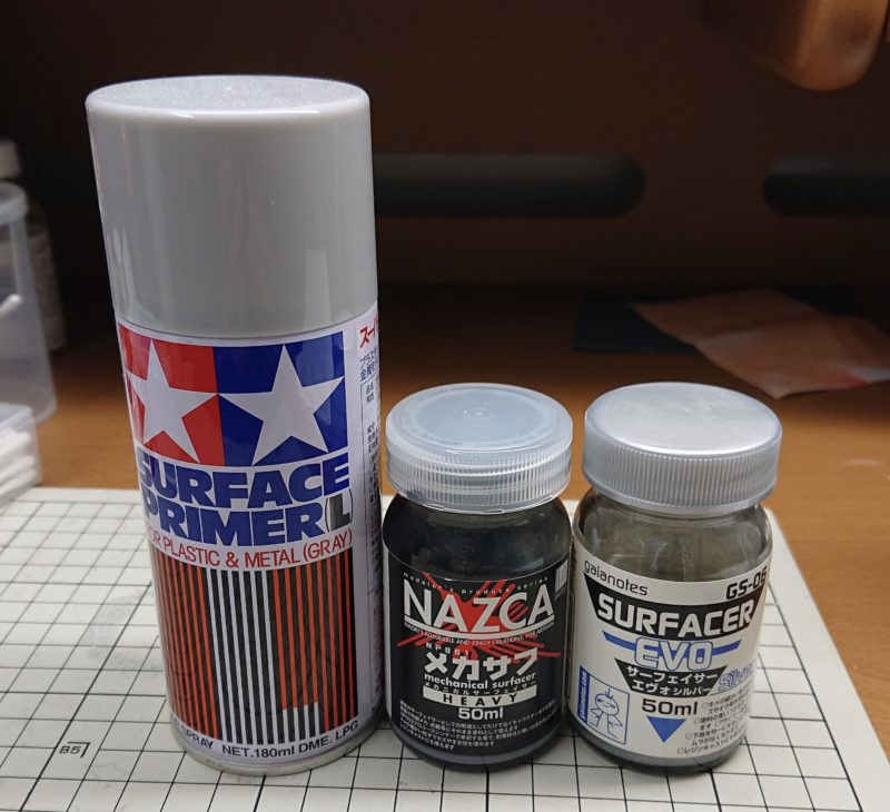 Surfacer, bottle type and spray can